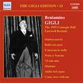 The Gigli Edition Vol.15 -The 1955 Carnegie Hall Farewell Recitals:Meyerbeer/Caccini/Donaudy/etc:Beniamino Gigli(T)/Dino Fedri(p)