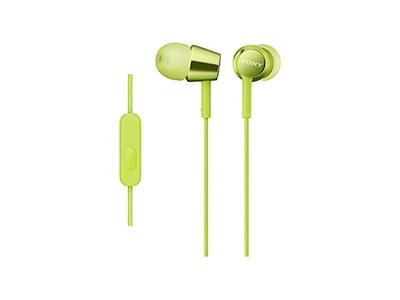 SONY スマートフォン用密閉型インナーイヤーレシーバー(リモコン付) MDR-EX150AP/Lime Green [MDREX150APGQ]