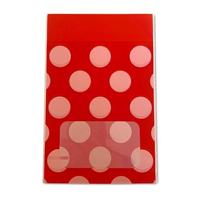 タワレコ 推し色ラッピング袋 Red(水玉)[MD01-5560]