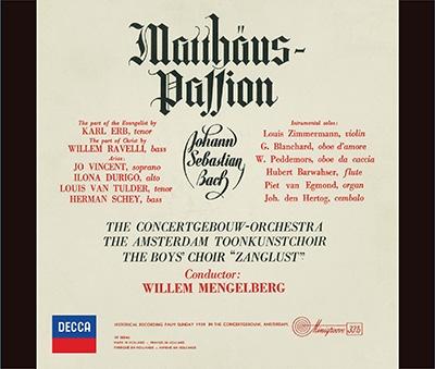 ウィレム・メンゲルベルク/J.S.バッハ: マタイ受難曲 (全曲) [PROC-1910]