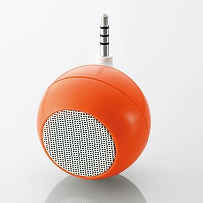 ELECOM 3.5φスピーカー コンパクト アンプ内蔵 1.5W 充電式 オレンジ [ASP-SMP050DR]