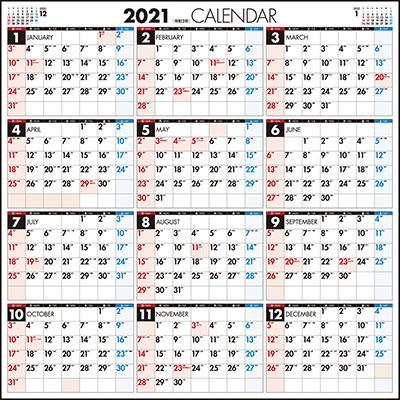 高橋書店 エコカレンダー壁掛 カレンダー 2021年 令和3年 A2変型サイズ E3 (2021年版1月始まり)[9784471805036]