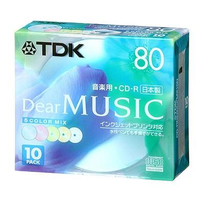 TDK 録音用CD-R(音楽用80分) カラ-MIX 10P インクジェット対応 [CD-RDE80CPMX10N]