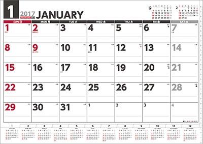 壁掛けスケジュール ヨコ型 2017 カレンダー [CL575]