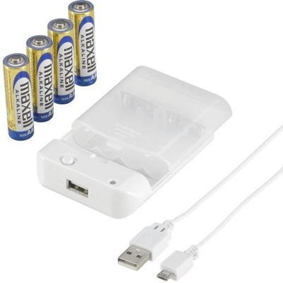 スマートフォン用乾電池式充電器 USBケーブル付 [IBCU4SPC02W]