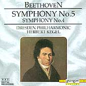 Beethoven: Symphonies no 5 & 4 / Kegel, Dresden Philharmonic