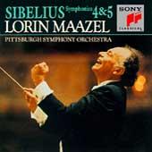 Sibelius: Symphonies no 4 & 5 / Maazel, Pittsburgh SO