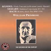 Handel, Mozart, Bach: Works for Viola / William Primrose