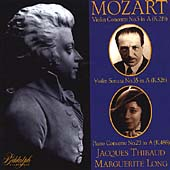 Mozart: Violin Concerto no 5, etc / Thibaud, Long