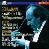 Schumann: Symphony no 1;  Webern: Fuenf Saetze, et al / Inbal