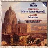 Palestrina: Missa Papae Marcelli;  Allegri / Preston